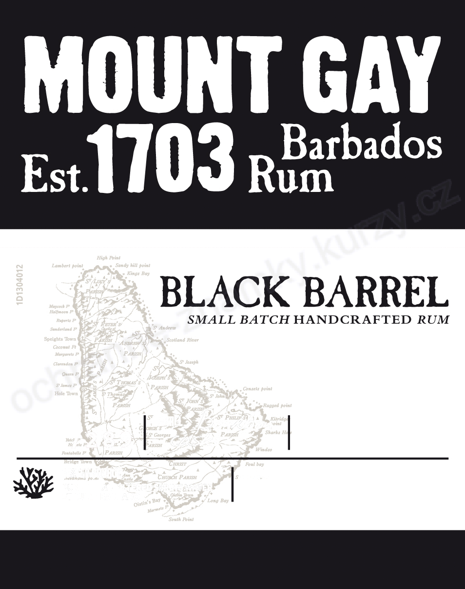 MOUNT GAY BARBADOS RUM Est. 1703 BLACK BARREL - ochranná známka